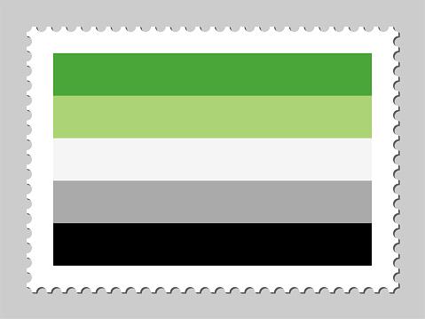 Aromantic  flag postage stamp
