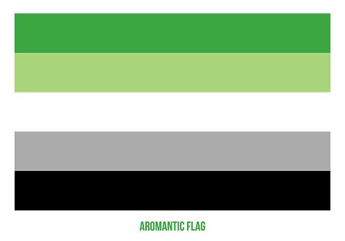 Aromantic Flag Vector Illustration Designed with Correct Color Scheme