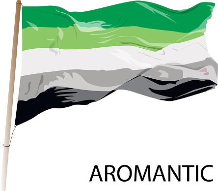 Aromantic lgbt vector flag