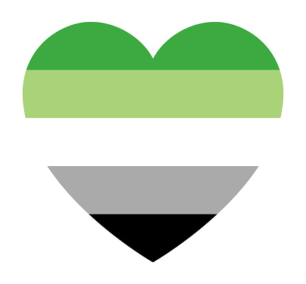 Aromantic pride flag, in heart shape icon on white background, vector illustration