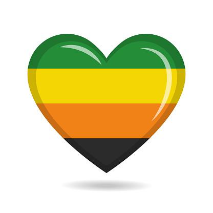Aromantic pride flag in heart shape vector illustration