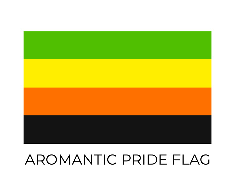 Aromantic Pride Rainbow Flags. Symbol of LGBT community. Vector flag sexual identity. Easy to edit template for banners, signs, logo design, etc.