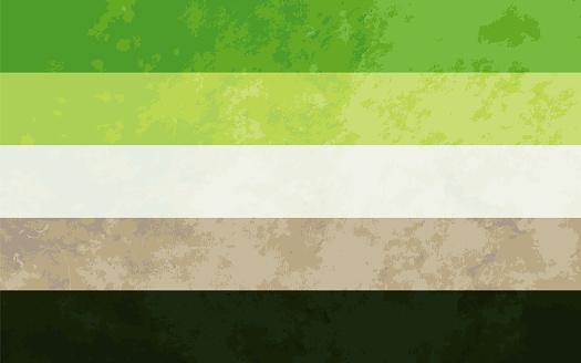 Aromantic sign, aromantic pride flag