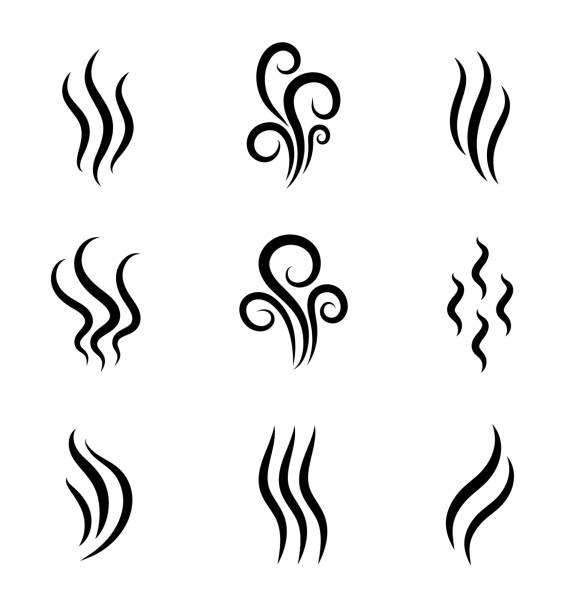 aromas, smell vaporize icon. outline symbols smoke, cooking steam odour, fume of flame. hot aroma odors signs set. wave of stench isolated. vector abstract illustration - para formy wodne stock illustrations