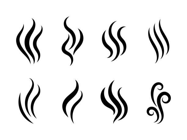 Aromas vaporize icons vector art illustration