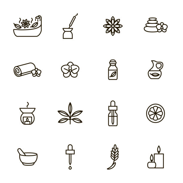 stockillustraties, clipart, cartoons en iconen met aromatherapie en spa tekenen zwarte dunne lijn icon set. vector - spa