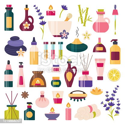 Aromatherapy, essential oil icon set. Spa, massage, wellness, beauty elements. Alternative medicine and ayurveda. Homeopathy. Bottle, diffuser, murmur, cream, soap, dropper.