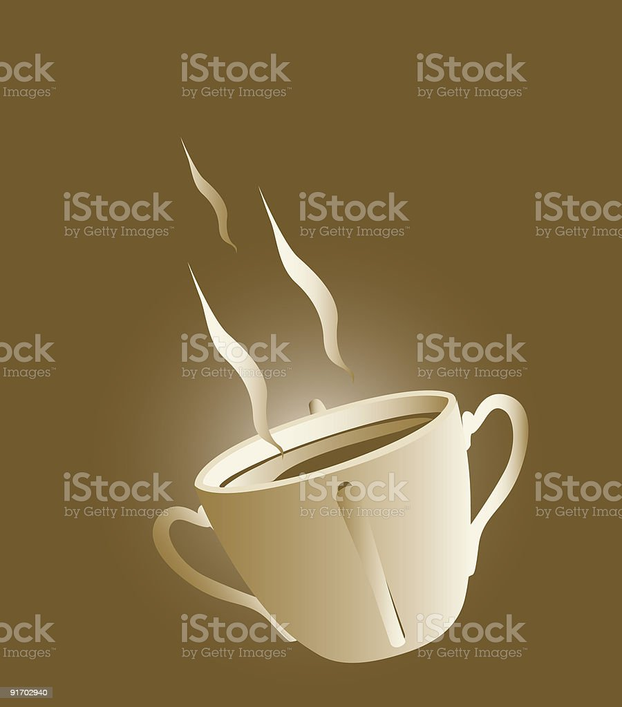 Aromatic coffee in a four handled cup vector art illustration