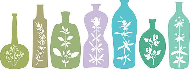 aromatischen kräutern in flaschen - kräutermischung stock-grafiken, -clipart, -cartoons und -symbole