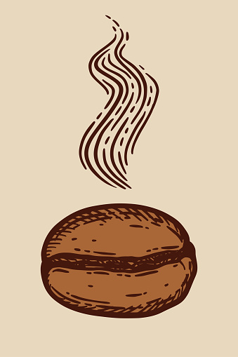 Aromatic roasted coffee bean, caffeine symbol