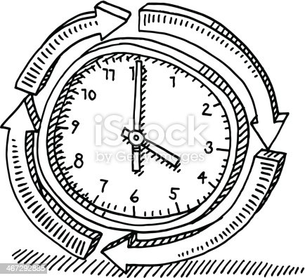 Hand-drawn vector drawing of a Around The Clock Symbol with a Cycle of Arrows. Black-and-White sketch on a transparent background (.eps-file). Included files are EPS (v10) and Hi-Res JPG.