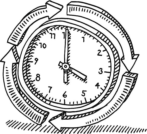 Around The Clock Arrows Drawing Hand-drawn vector drawing of a Around The Clock Symbol with a Cycle of Arrows. Black-and-White sketch on a transparent background (.eps-file). Included files are EPS (v10) and Hi-Res JPG. wall clock stock illustrations