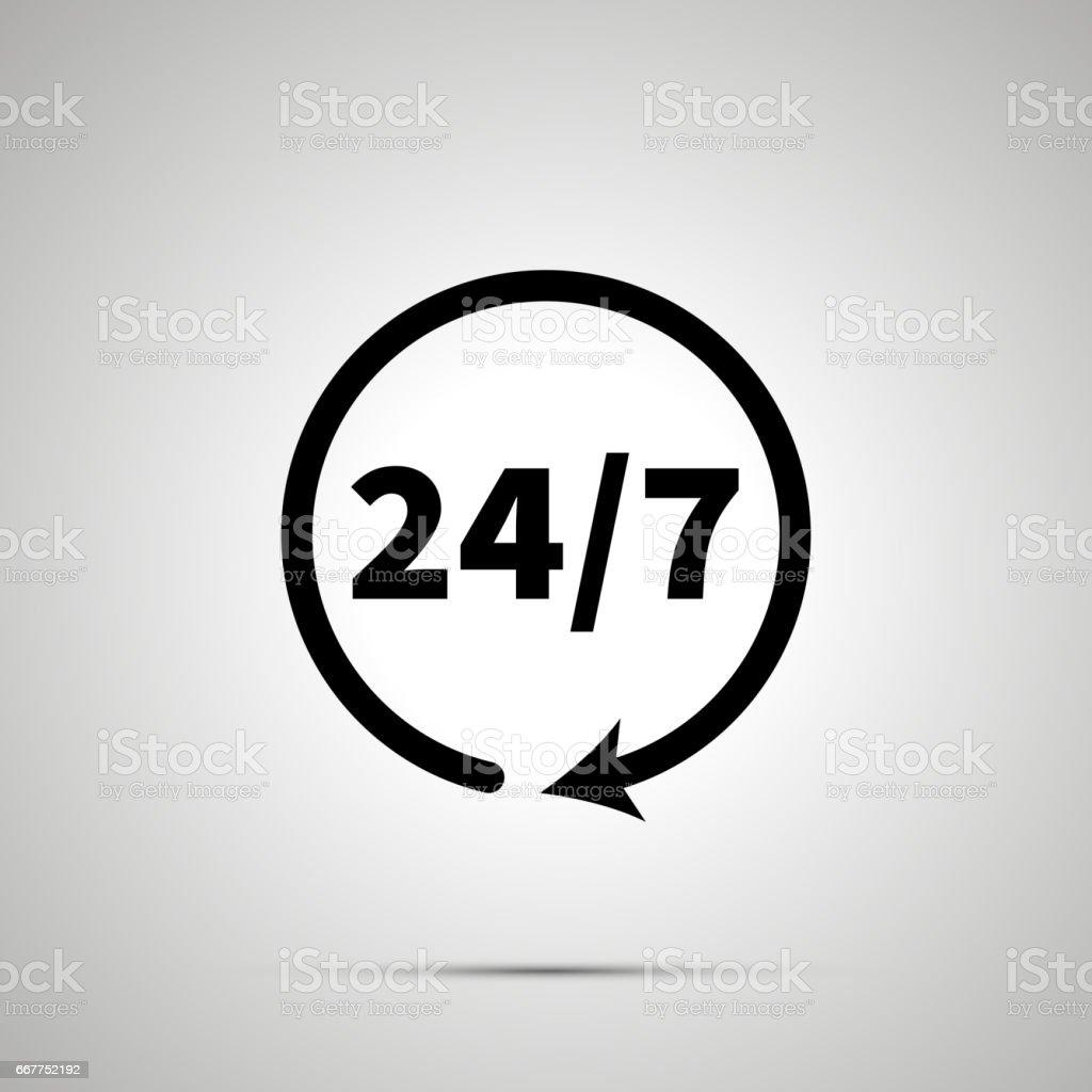 Around the clock sign, simple black icon vector art illustration