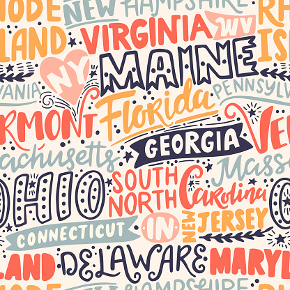 Around the World. AMERICAN EASTERN STATES vector lettering seamless pattern. Country and major cities