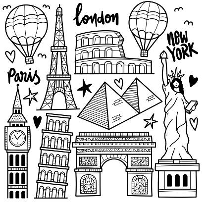Around the World Doodle Illustration