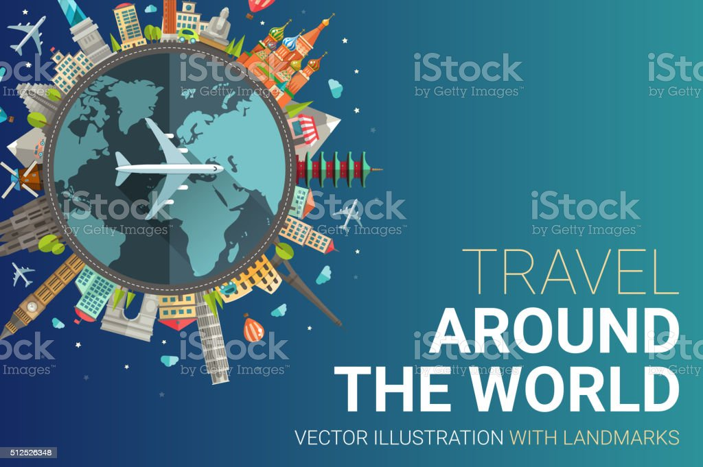 Around the world flat design postcard illustration vector art illustration