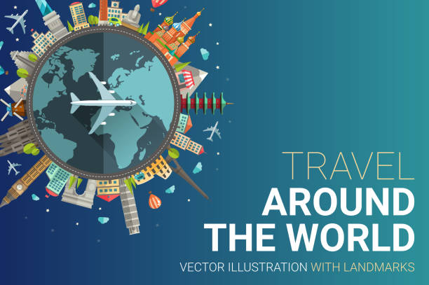 around the world flat design postcard illustration - travel destinations stock illustrations