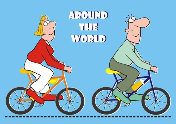 auf der ganzen welt mit dem fahrrad, lustige postkarte, vektor-illustration - lustige fahrrad stock-grafiken, -clipart, -cartoons und -symbole