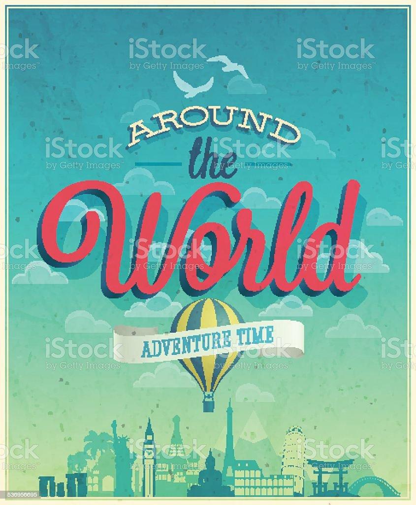 Around the world poster. vector art illustration