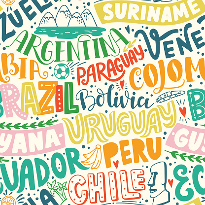 Around the World. SOUTH AMERICA vector lettering seamless pattern. Country and major cities