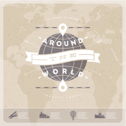 Around the world - travel  vintage type design with world map and  old  transport.