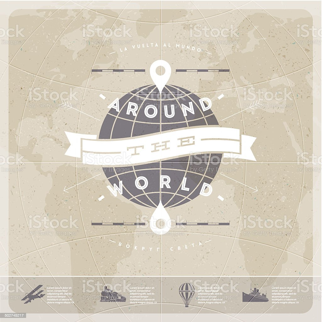 Around the world - travel  vintage type design vector art illustration