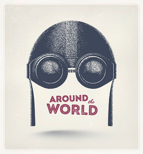 Around the World Pilot helmet and goggles, around the world. Illustration contains transparency and blending effects, eps 10 aviation and environment summit stock illustrations