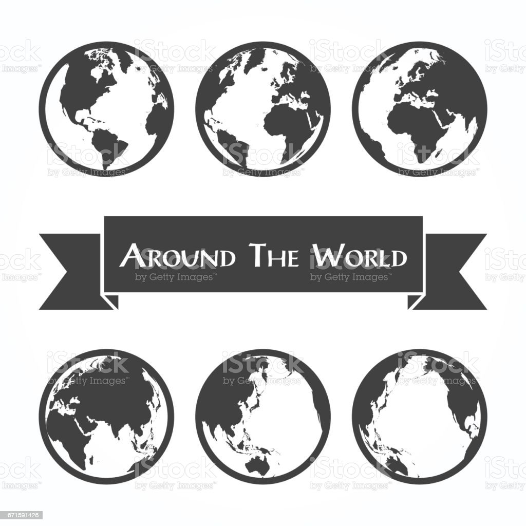Around the world ( outline of world map ) vector art illustration
