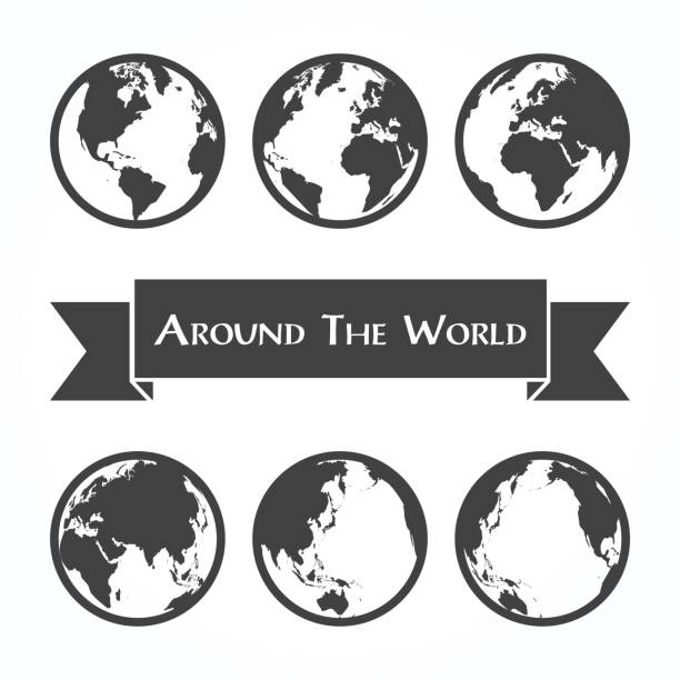 Around the world ( outline of world map ) Around the world ( outline of world map ) frontier field stock illustrations
