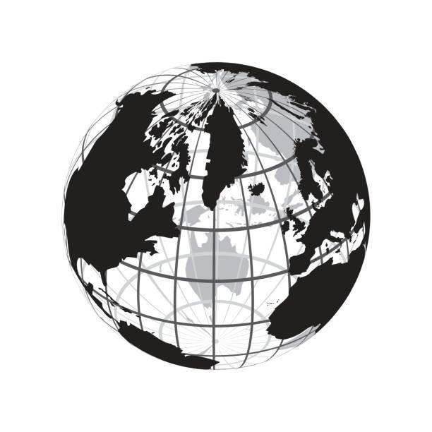 auf der ganzen Welt (Gliederung der Weltkarte mit Längen- und Breitengrad) – Vektorgrafik