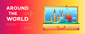 Around the World - vector line travel web page header illustration