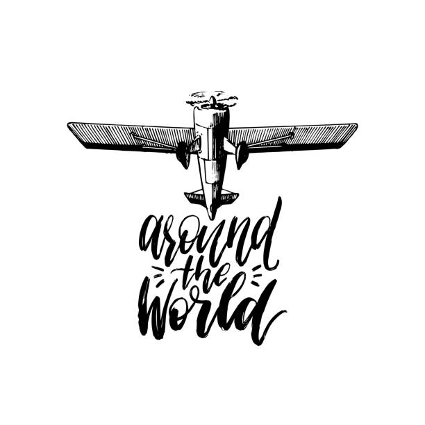 Around The World vector typography inspirational poster.Vintage airplane icon.Hand drawn illustration in engraving style vector art illustration