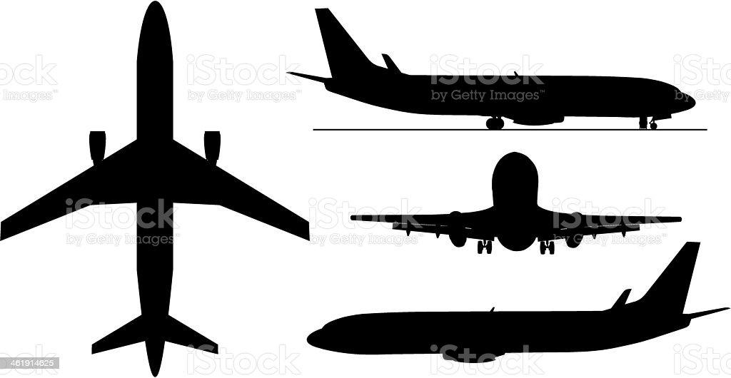 Arplanes silhouettes vector art illustration