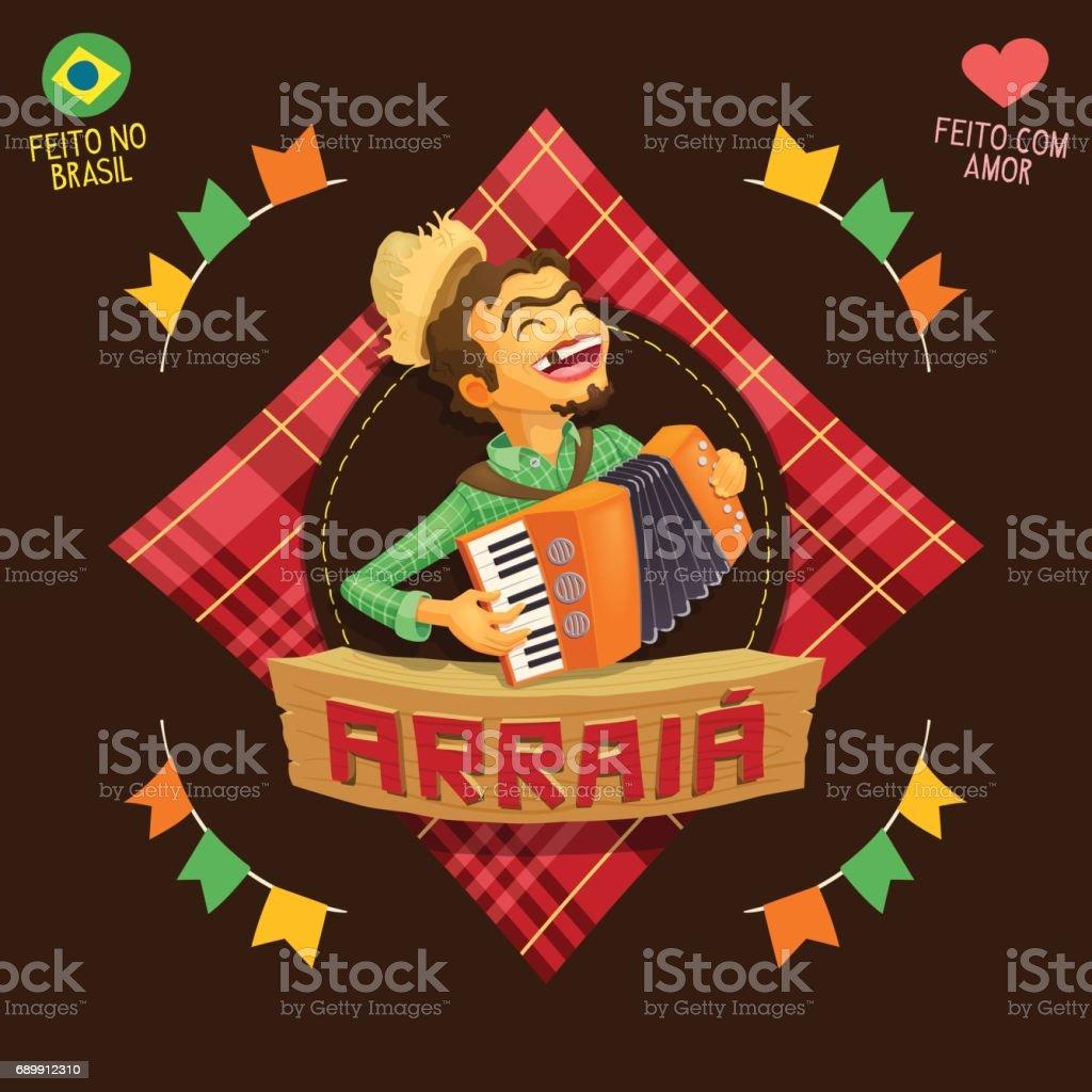 Arraia (bedeutet Dorf, auch Namen Juni Parteien) - Akkordeon-Player-Symbol – Vektorgrafik