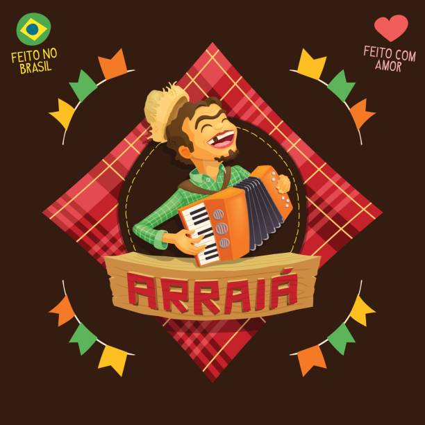 arraia (means village, also name june parties) - accordion player icon - akordeon instrument stock illustrations