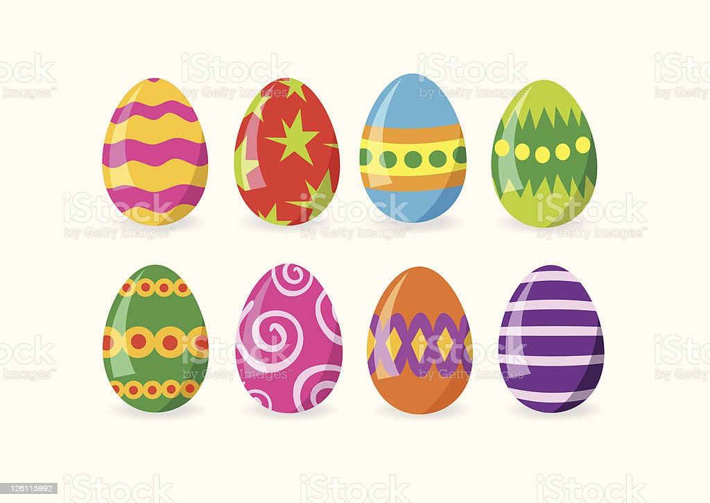 Arrangement of 8 Easter eggs selection on white background vector art illustration
