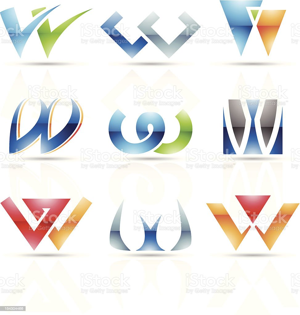 Arrangement of abstract colorful designs for letter W royalty-free stock vector art