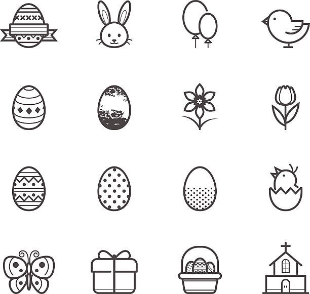 stockillustraties, clipart, cartoons en iconen met arrangement of black-and-white easter related icons - chicken bird in box