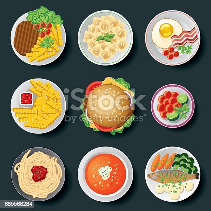 Vector Illustration of a set of Cooked and Salted Dishes arranged over a dark background