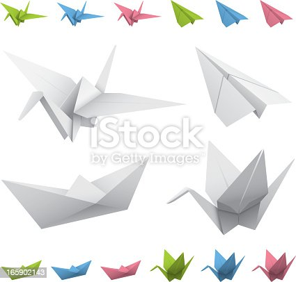 Vector illustration of popular origami folds. Transparency blend used for colors, and also in the plane. Everything else is just simple linear gradients. Very easy to change the color. Download includes: