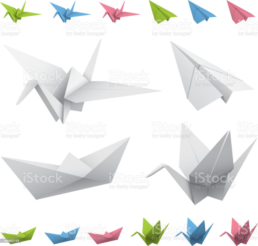 Arrangement of drawings of origami cranes, planes, and boats vector art illustration