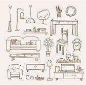 Arrangement of living room furniture vector art