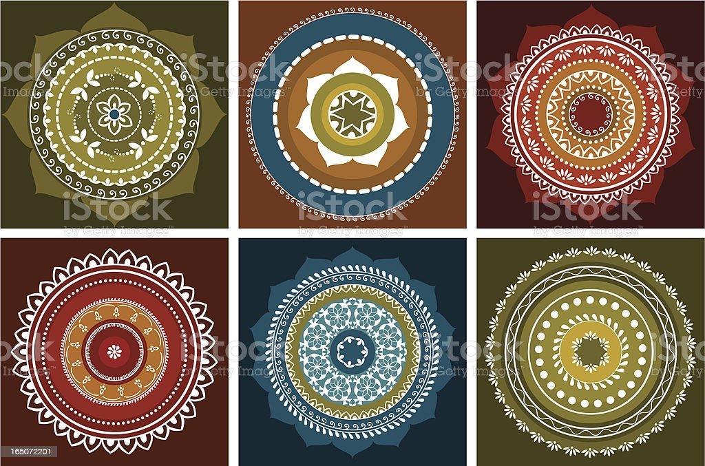 Arrangement of six colorful mandala illustrations vector art illustration