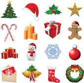 Illustration of a Christmas Icon Set (Pdf(6) and Ai(8) files are included)