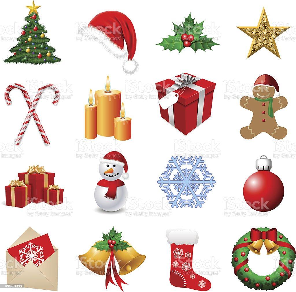 Arrangement of sixteen Christmas themed emoji vector art illustration