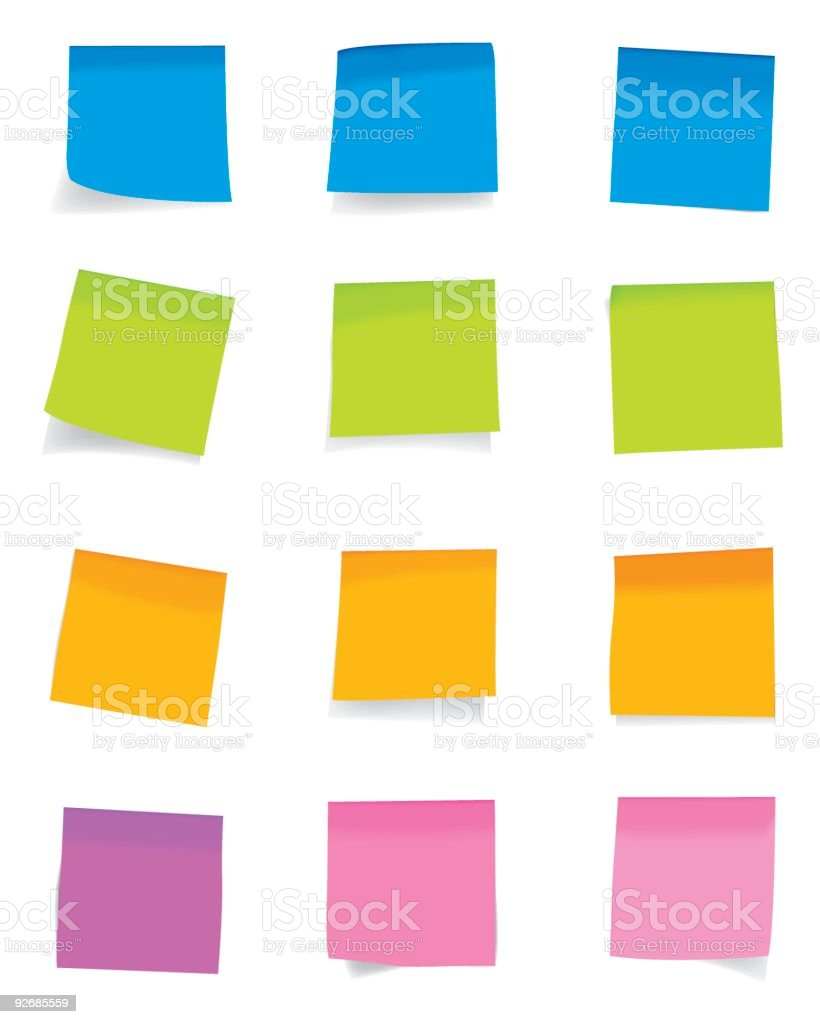 Arrangements of colorful sticky notes on a white wall royalty-free stock vector art