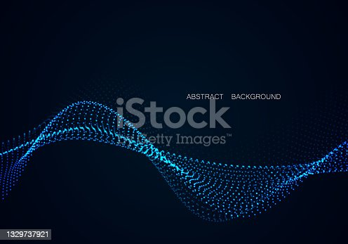 istock Array of glowing dots in the form of an abstract wave. Vector design element. 1329737921