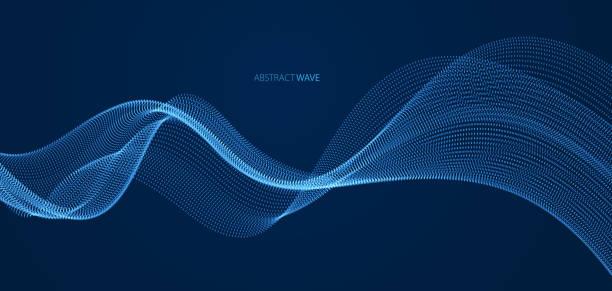 array von partikeln fließt über dunklen hintergrund, dynamische schallwelle. 3d vektor-illustration. mesh-glänzende runde punkte, schöne entspannende tapete illustration. - sound wave stock-grafiken, -clipart, -cartoons und -symbole