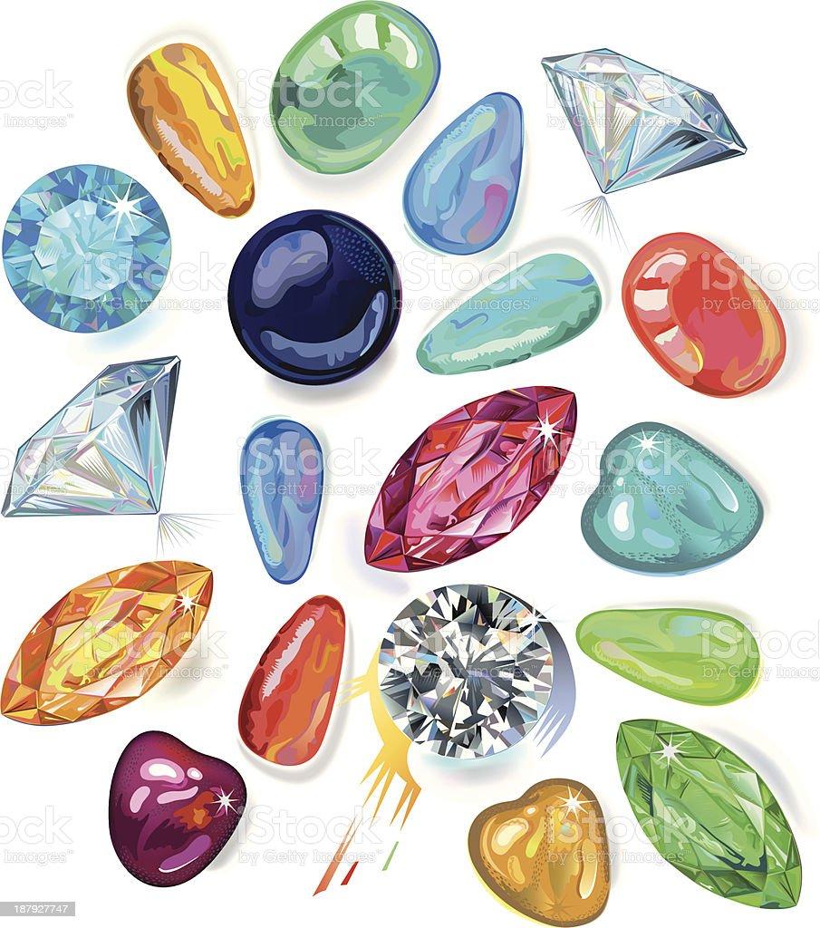 Variedad de piedras preciosas. Ilustración de Vector, EPS8 - ilustración de arte vectorial
