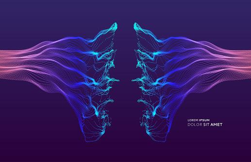Array With Dynamic Emitted Particles Water Splash Imitation Abstract Background Vector Illustration - Immagini vettoriali stock e altre immagini di Acqua